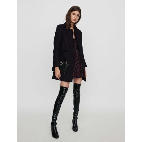 limited sale wool and velvet coat - black last chance best price