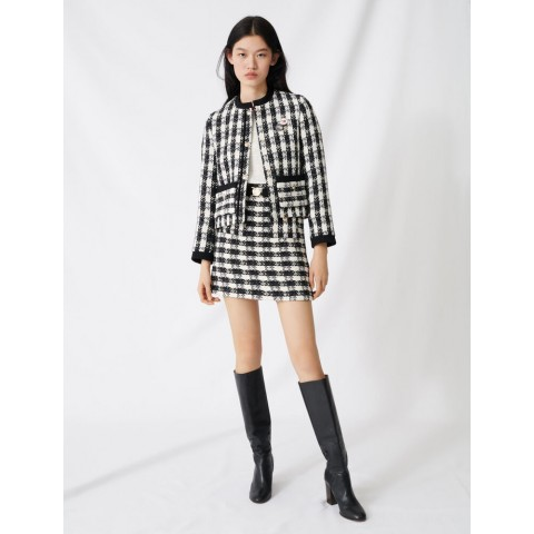 best price tweed-style cropped jacket - black / white limited sale last chance