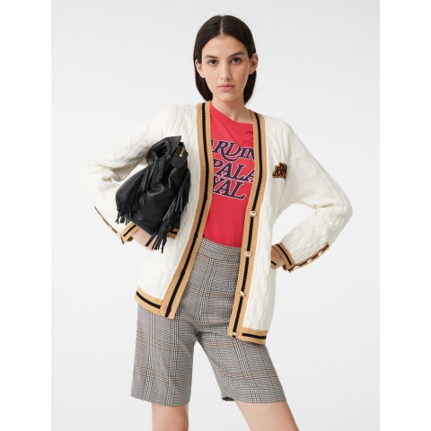 best price cable cardigan with contrasting bands - ecru limited sale last chance