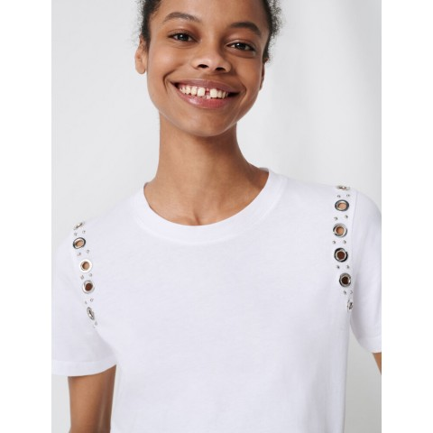 last chance white t-shirt with rock eyelets - limited sale best price