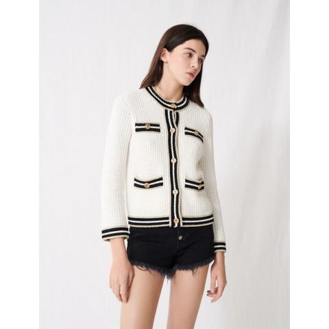 best price knit cardigan with contrasting bands - ecru last chance limited sale