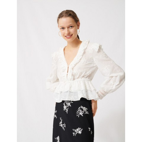 last chance broderie anglaise top - ecru limited sale best price