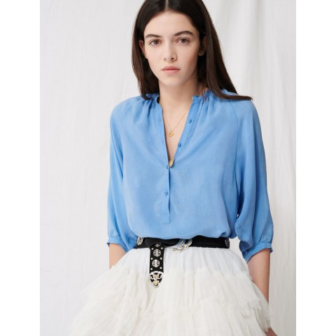 best price buttoned top with shirring - light blue limited sale last chance