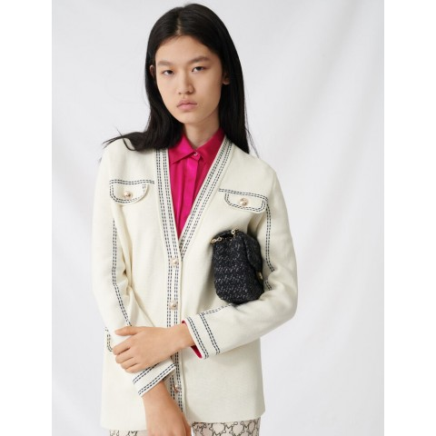 best price cardigan with contrasting topstitching - ecru last chance limited sale