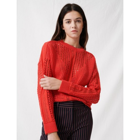last chance crochet-style sweater - red limited sale best price