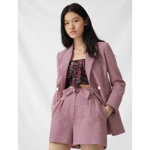 last chance checked straight double-breasted jacket - fuchsia best price limited sale
