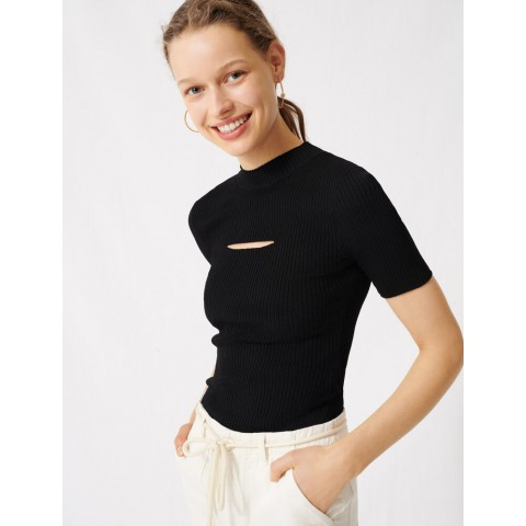 limited sale black sweater with open neckline - best price last chance
