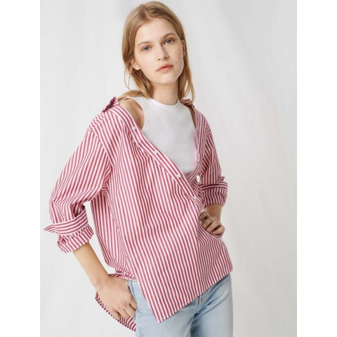 limited sale trompe o'leil top with layered shirt - red/white last chance best price