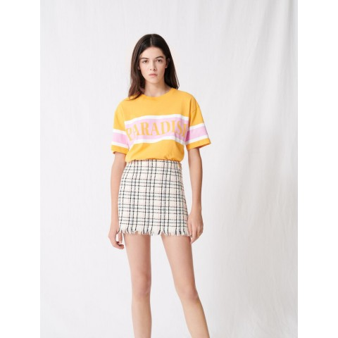 limited sale tweed-style mini skirt with fringing - ecru best price last chance
