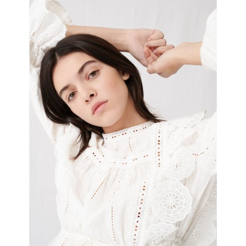 limited sale white top with broderie anglaise - last chance best price