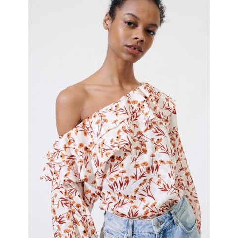 best price floral top with drop shoulders - terracota limited sale last chance