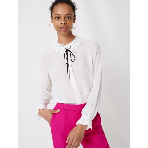 limited sale guipure collar shirt and velvet link - ecru best price last chance