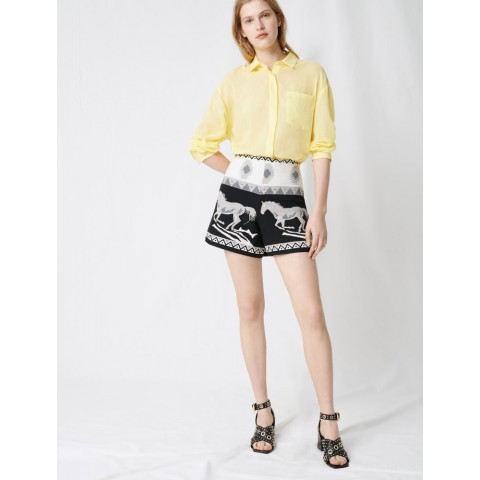 best price jaquard shorts with embroidery - black / white limited sale last chance