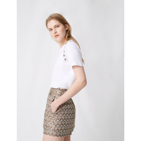 best price jacquard skort with removeable belt - gold limited sale last chance