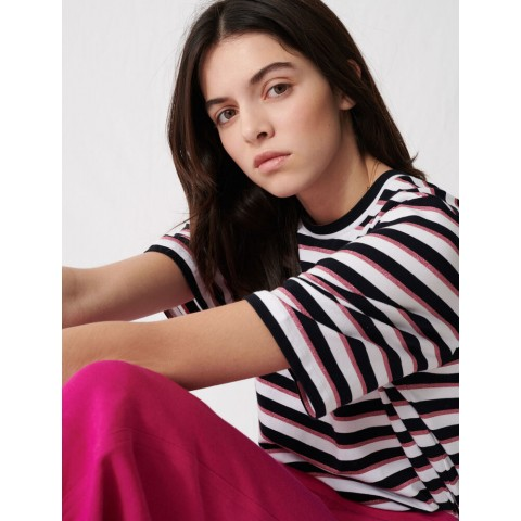 last chance t-shirt with tricolored stripes - black/pink best price limited sale