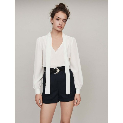 last chance tie bow silk top - white best price limited sale
