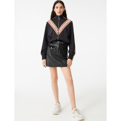 best price track jacket with contrasting bands - black last chance limited sale