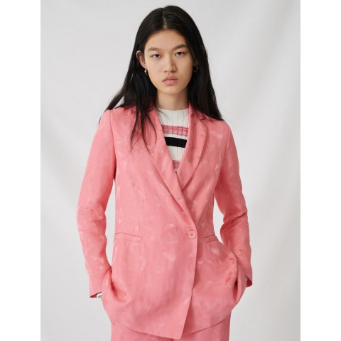 best price satiny jacquard double-breasted jacket - pink limited sale last chance