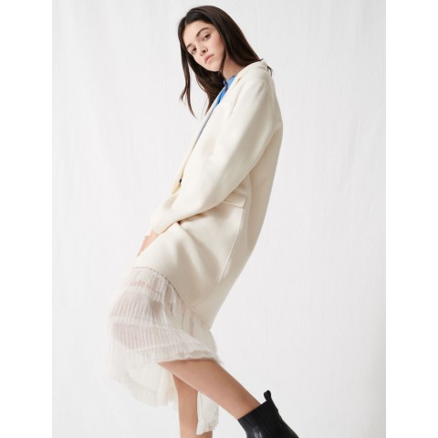 limited sale white double-faced midi coat - best price last chance