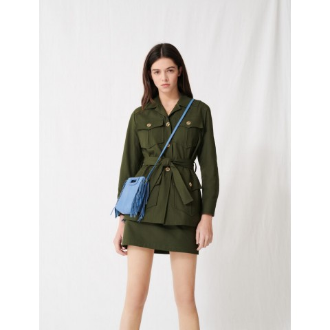 limited sale military-style belted coat - dark khaki best price last chance