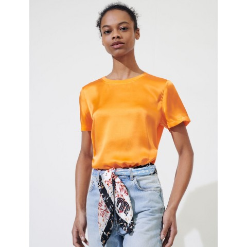 last chance loose-fitting material-mix t-shirt - orange limited sale best price