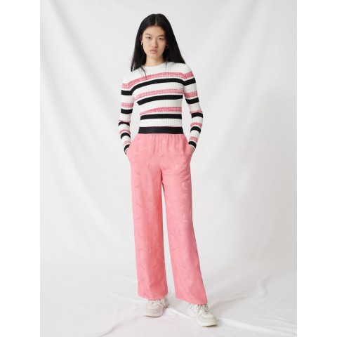 last chance satiny jacquard palazzo trousers - pink limited sale best price