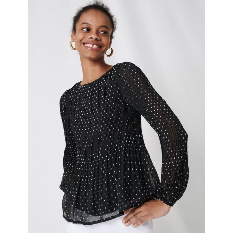 best price embroidered pleated top - black last chance limited sale
