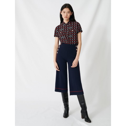 last chance flares with contrasting topstitching - navy best price limited sale
