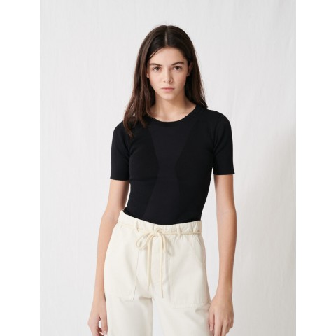 last chance charcoal black short-sleeved sweater - limited sale best price