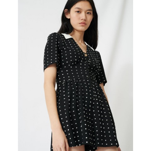 best price floaty romper with retro polka dots - black / white limited sale last chance