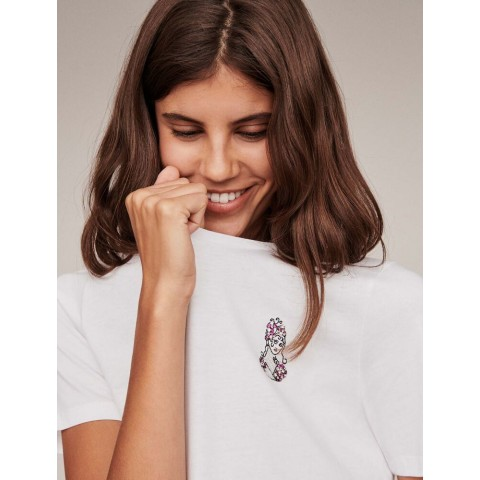 limited sale embroidery and rhinestone cotton t-shirt - ecru last chance best price