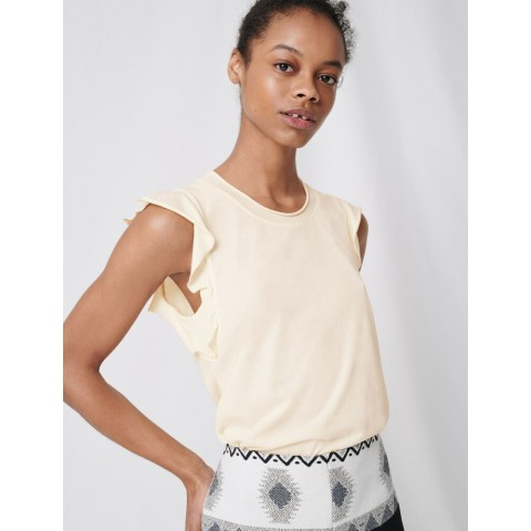 last chance black sleeveless top with ruffles - ecru limited sale best price