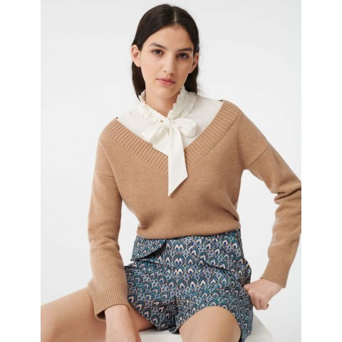 limited sale mixed fabric layered sweater - camel last chance best price