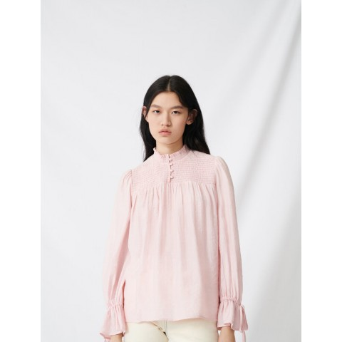 best price smocked top with puff sleeves - pink last chance limited sale