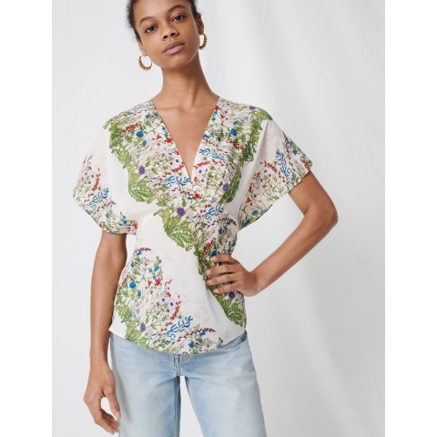 best price delicate floral silk top - ecru / green limited sale last chance