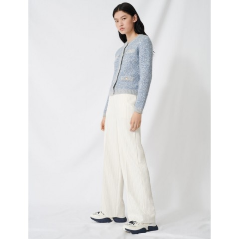 best price palazzo pants with contrasting waistband - ecru limited sale last chance