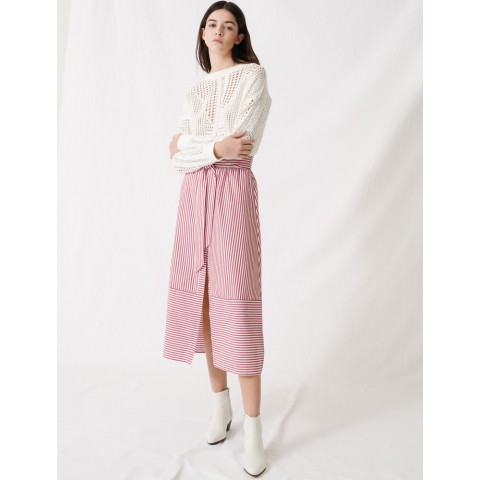 limited sale long striped tie skirt - red/white best price last chance