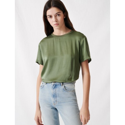 best price loose-fitting material-mix t-shirt - khaki last chance limited sale
