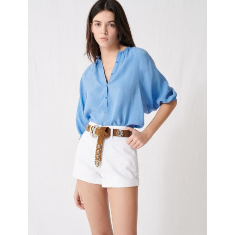 limited sale belted denim shorts - white last chance best price