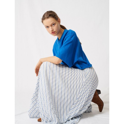 limited sale striped and pleated elasticated skirt - white/blue best price last chance