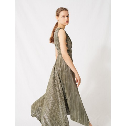 limited sale long metallic dress with openwork sides - khaki last chance best price