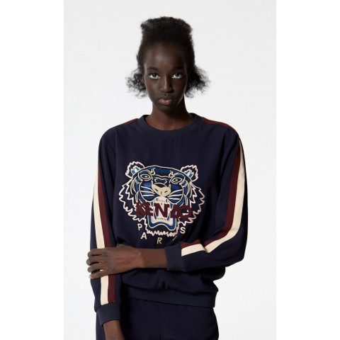 last chance crepe tiger top - navy blue best price limited sale