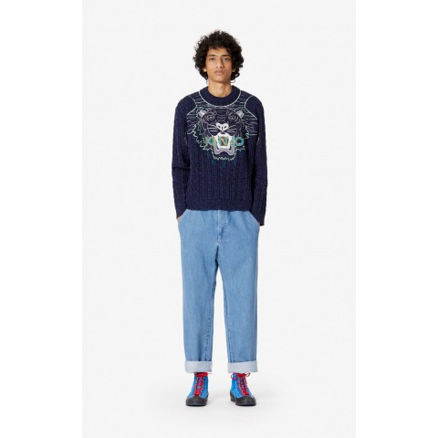 best price 'claw tiger' wool jumper - navy blue limited sale last chance
