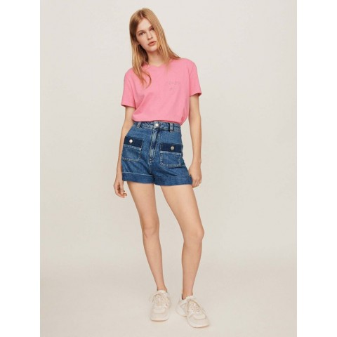 last chance wide jean shorts with pockets - blue limited sale best price