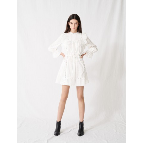 limited sale white dress with broderie anglaise - best price last chance