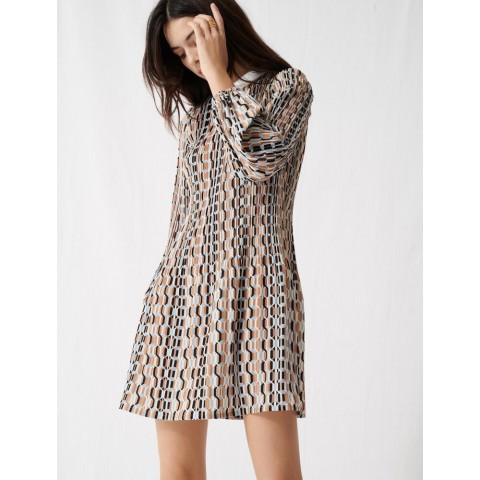best price printed pleated dress, peter pan collar - blue sky last chance limited sale