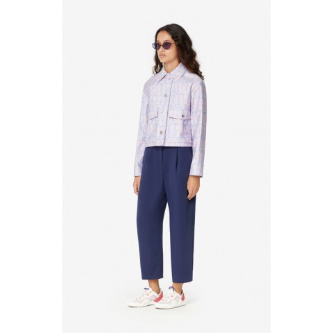 best price crepe tiger top - french blue limited sale last chance