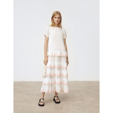 last chance gradated ombre style ruffled dress - white limited sale best price