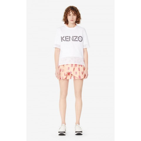 last chance kenzo logo dual-material t-shirt - white best price limited sale