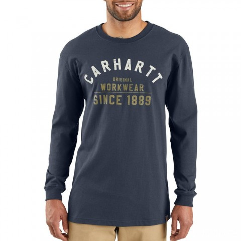 best price carhartt 103839 - original workwear graphic long sleeve t-shirt navy limited sale last chance
